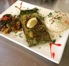 Recipe Banana Leaf Wrapped Sea Bass from Boma – Flavors of Africa at Disney's Animal Kingdom Lodge Filet Of Fish, Disney Animal Kingdom Lodge, Tomato Vine, Ground Coriander, Green Bell Peppers, Sea Bass, Banana Recipes, Disney Food, Food Print