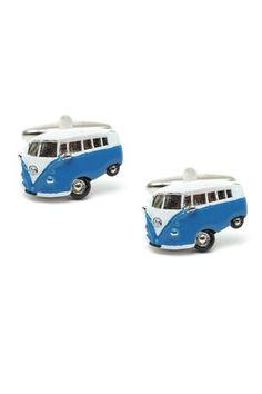 blue campervan cufflink