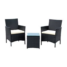 IDS Home 3-Piece Compact Outdoor/Indoor Garden Patio Furniture Set Black PE Rattan Wicker Seat White Cushions  Great Compact outdoor rattan patio furniture item set, Stylish modern design fits any home decor, backyard, patio or pool areasBrand new and high quality, Strong steel frame and all rattan wickerCushions are waterproof, easy cleaning, simple to clean  http://outdoorgear.mobi/product/ids-home-3-piece-compact-outdoorindoor-garden-patio-furniture-set-black-pe-rattan-wicker-..