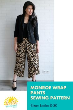 The Monroe Wrap Pants feature an elastic waist which makes them so easy to sew. The wrap ends at different points both front and back so you can have a little bit of coverage for a false high-low, tulip look or go for maximum coverage to make sure you have no problems on a windy day. Trade your yoga pants in. You are going to want these.  Sewing Level: Confident Beginner  Sizes: Ladies 0-30 #sewingpattern #pantssewingpattern #wrappants #2020fashion #outfitoftheday #crafting #sewing… Sewing Patterns For Kids, Vintage Sewing Patterns, Pattern Sewing, Pdf Patterns, Sewing Pants, Sewing Clothes, Diy Fashion, Origami Fashion, Fashion Details