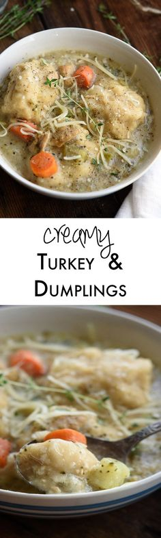 Turkey and dumplings is the perfect winter supper. We tested and tested to find the best dumplings ever! 1 hour weeknight simple recipe for a warm cozy dinner. Cozy up with a steaming bowl of Easy Asian Recipes, Easy Dinner Recipes, Easy Meals, Healthy Recipes, Dinner Ideas, Weeknight Recipes, Weeknight Dinners, Turkey Recipes, Soup Recipes