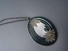 Anhänger Medaillon 925 Silber Email Emaille Silberanhänger Edelweiss +Kette