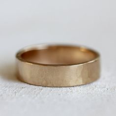 Men's 14k gold hammered wedding band solid gold by PraxisJewelry, $445.00 Praxis Jewelry