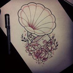 I think this Gramophone tattoo is beautiful Music Tattoos, Love Tattoos, Beautiful Tattoos, Tatouage Gramophone, Tattoo Sketches, Tattoo Drawings, Record Player Tattoo, Tattoo Musik, Tattoo Bein