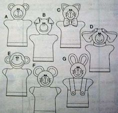 Hand Puppet Patterns | FLEECE HAND PUPPETS PATTERN Pig Bear Monkey Dog Cat Mouse…