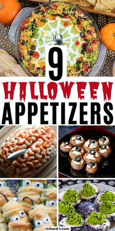 9 Halloween appetizers that are easy and spooky! These Halloween appetizers will be the hit at any Halloween party! 9 Halloween appetizers that are easy and spooky! These Halloween appetizers will be the hit at any Halloween party! Halloween Games For Kids, Halloween Food For Party, Halloween Treats, Halloween College, Halloween Office, Halloween Baking, Halloween Couples, Pretty Halloween, Girl Halloween