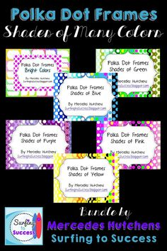 {{Polka Dot Frames: Shades of Many Colors}}  More than 200 images to bring color to your classroom or educational products.  Polka dot frames in shades of blue, green, purple, pink, yellow and more!