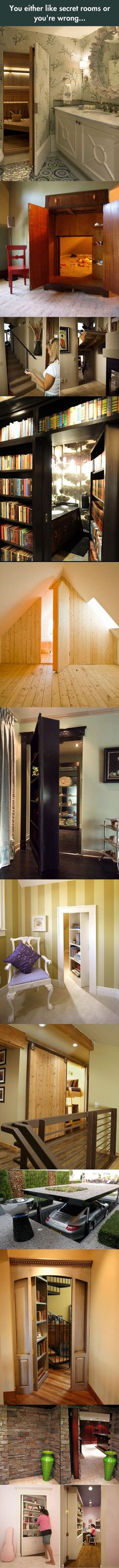 "Install a secret murphy door with bookshelf on ""wine cellar"" turn it into a secret agent hideout..."