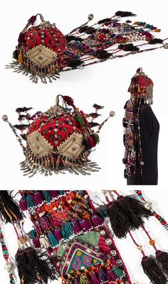 Turkmenistan / Afghanistan | Turkoman Wedding Headdress; Stitched cotton, glass beads, carnelian, brass, metal | ca. 1900 | Est. 2'400€ ~ (Jan '15)