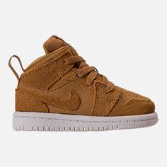 Right view of Kids' Toddler Air Jordan Retro 1 Mid Basketball Shoes in  Golden Harvest