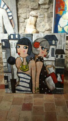 Virginie Matz  peinture Love Wall Art, My Art Studio, Popular Art, Arte Pop, Figurative Art, Art Lessons, Folk Art, Modern Art, Art Drawings