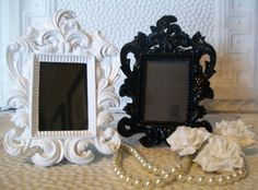 1 Black or White-Beyond FaBuLoUS-Small Baroque Ornate Vintage Style High Gloss Picture Frame-Chalkboard Vinyl  Marker-Wedding-Reception dream-wedding