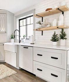 Diy Kitchen Remodel, Diy Kitchen Cabinets, Home Decor Kitchen, Open Cabinet Kitchen, White Kitchen Decor, White Kitchen Designs, White Appliances In Kitchen, Cream And White Kitchen, White Cabinets White Countertops