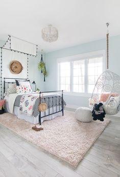 Bedroom Decor For Teen Girls, Teenage Girl Bedrooms, Childrens Room Decor, Bedroom Themes, Teen Bedroom, Tween Girls, Bedroom Designs, Bedroom Curtains, Teenage Beach Bedroom