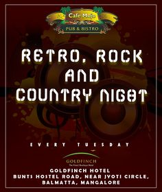 Café Mojo Mangaluru brings you Rock, Country, and even some Retro! this ‪#‎TuesdayNight‬. Only at Café Mojo Mangaluru. ‪#‎PartyinMangalore‬ ‪#‎NightLife‬ #Pubs #Party #Beer #Pub #Fun #OntheBar #BeerDrinks #Beers #Enjoy #PartyMusic #GoodTimes #Music #Dance #Drinks #DrinkLocal #EatLocal  #Parties #Mangalore  #OnthePub.