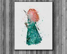 Princess Merida DISNEY  watercolor, Brave - Art Print, instant download, Watercolor Print, poster by digitalaquamarine on Etsy https://www.etsy.com/listing/213110328/princess-merida-disney-watercolor-brave