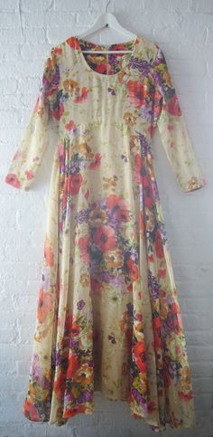 70s Prom Dress 60s Floral Dress Vintage Maxi Dress Boho Spring Fashion Red Floral Cotton Fitted Top Garden Party Wedding Red Carpet Gown. , via Etsy.