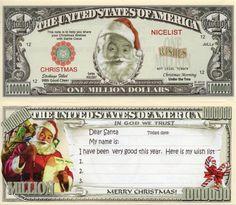 CHRISTMAS ANGEL SANTA HOLIDAY $100,000 MILLION DOLLAR NOVELTY BILL MONEY