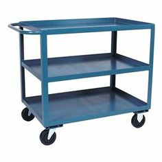Utility Cart with Drawer, 35 In by Jamco. $565.64. Utility Cart with Drawer, 2 Shelf, 1 Drawer, Load Capacity 1200 lb., Welded Steel Construction, Gauge Thickness 12, Powder Coat Finish, Color Yellow, Overall Length 60 In., Overall Width 30 In., Overall Height 35 In., Number of Shelves 2, Caster Size 5 In. x 1-1/4 In., Caster Type 2 Rigid, 2 Swivel, Caster Material Urethane, Capacity per Shelf 600 lb., Distance Between Shelves 19 In., Shelf Length 60 In., Shelf Width 30...