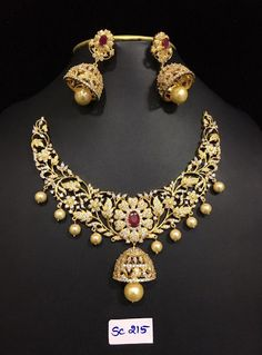 Grand AD Stones Necklace 3000 to 4500 Outfits, Outfit Ideas, Outfit Accessories, Cute Accessories Bridal Necklace, Wedding Jewelry, Necklace Box, Earrings, Collar Necklace, India Jewelry, Gold Jewelry, Jewellery, Ruby Jewelry