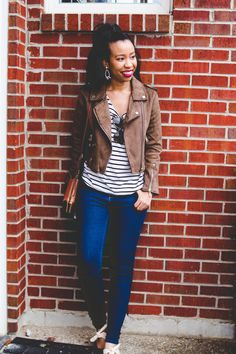 Southern style blogger, What Nicole Wore, shares an easy winter uniform, the closet staples you need, how to spice them up + a $500 Target giveaway. // easy winter outfits for her, how to wear a moto jacket, affordable statement earrings, loft denim leggings, mac d for danger lipstick, black fashion blogger