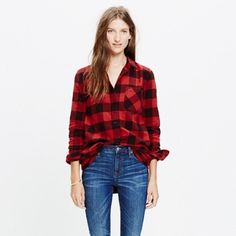 Madewell Ex Boyfriend Flannel Shirt Worn once. Adorable high-low loose fitting flannel. Madewell Tops