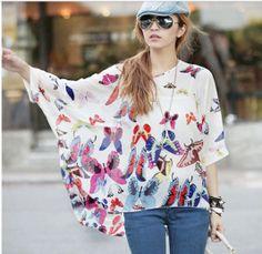2014 New fashion Womens Ladies Bohemian Chiffon Butterfly Print Batwing Sleeve Blouse Shirts XXXXXL Cape women casual Shirt 301S
