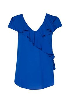 Bright Blue Ruffle Front Woven Top - Tops - Clothing - Wallis Europe