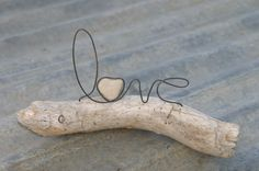 LOVE wire word and heart stone on driftwood sculpture Valentine gift or Wedding Driftwood Crafts, Wire Crafts, Crafts To Do, Driftwood Ideas, Rock Sculpture, Driftwood Sculpture, Wood Stone, Stone Heart, Beach Crafts