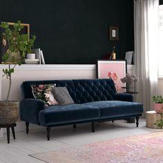 Rosdorf Park Lexi Twin 78'' Wide Velvet Tufted Back Convertible Sofa & Reviews   Wayfair Blue Velvet Couch, Navy Blue Sofa, Blue Couches, Green Sofa, Navy Couch, Green Velvet, Mid Century Modern Couch, Mid Century Sofa, Sofa Couch Bed