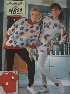 1986 Sears Christmas Catalog.  Stirrup stretch pants and giant puffy tops.