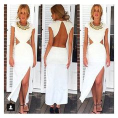 GM-Fashion White Plain Irregular Cut Out Backless Cap Sleeve Floor Length Cotton Dress