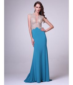 Teal Sheer Bodice Full Length Dress