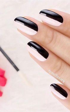 monochrome nails, black and white nail art