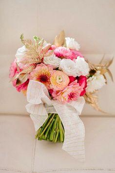 colourful bouquet - bunter Brautstrauß von 100 Layer Cake Best Of: Bridal bouquets Pink And Gold Wedding, Floral Wedding, Wedding Flowers, Bouquet Wedding, Bride Bouquets, Bridesmaid Bouquet, Deco Floral, Floral Design, Pink Bouquet