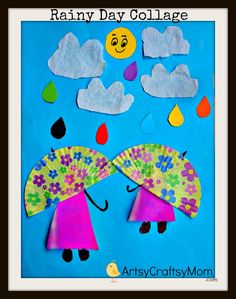 Rainy+day+paper+Collage | Simple paper collage ideas for kids | Pasting activities Paper Crafts Christmas Crafts
