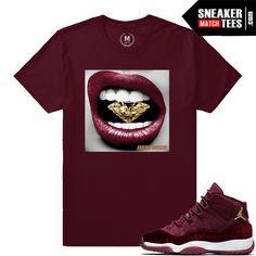 f36d32c890a805 Jordan 11 Velvet Maroon Match Sneaker Tees Jordan Outfits Womens
