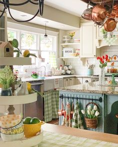 We love the bright pops of color in this kitchen styled by - our black and white Vintage Enamel Bread Box looks darling among all these colors! Cozy Kitchen, Charming Kitchen, Vintage Kitchen, Kitchen Remodel, Kitchen Decor, Cottage Kitchen, Country Kitchen, Home Kitchens, Kitchen Renovation