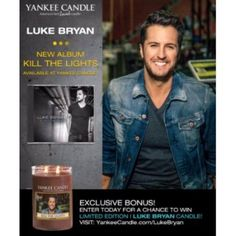 """Are you a Luke Bryan fan? Visit your Yankee Candle store starting August 7th to pick up his new CD """"Kill the Lights"""" and enter to win a Luke Bryan Candle!  