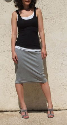 Layer winter tops for casual look with pencil skirt. Everyday Pencil Skirt-Heather Gray