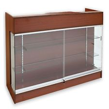 Ledgetop POS Sales Retail Display 4' Glass Showcase Counter Cherry Knockdown NEW
