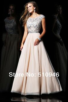 2013 New arrival cap sleeve top beadings a line long modest prom dresses with sleeves