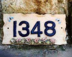 House number plaque, ceramic door numbers, door numbers.