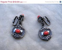 15% OFF SALE Beautiful Napier Silver with Coral Colored Stone Clip Back Earrings