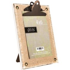 Burlap MDF Frame with Distressed Clip