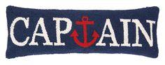 Nautical Hook Captain Anchor Wool Lumbar Pillow