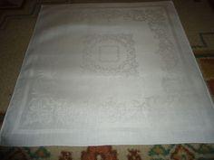 "Vintage Set of 5 Irish Linen Napkins.  Floral/Scroll Work. 20"" X 19.50"". Creme"