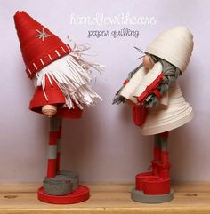 paper quilling dolls, scandinavian Christmas gnome. lovely!