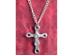 Bike Chain Cross Pendant