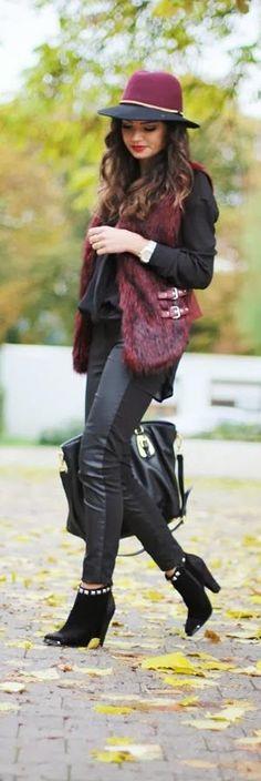 Fall Fashion 2014- (basic pieces: vest / hat / jeans) vest: Supertrash, booties: Supertrash, blouse: Gina Tricot, bag: Prada, watch: Michael Kors, rings: H&M